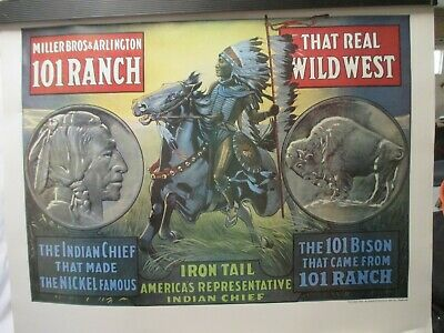 """The 101 Ranch Chief Iron Tail Poster MINT  22"""" X 26"""""""