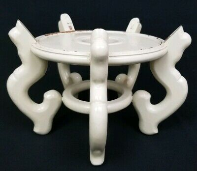 """Asian Carved wooden Chinese fish bowl stand Jardiniere planter Vintage 8 3/8"""""""