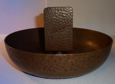 Arts & Crafts JOSEPH HEINRICH Hammered Copper Ashtray HOTEL DENNIS Atlantic City