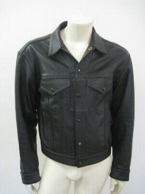 MR. S LEATHER San Francisco Black Leather Trucker Jean Jacket Size 42