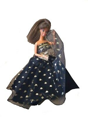 """Black Ball gown gold splashy  party fiesta Unique dress For Vintage Doll 11 1/2"""""""