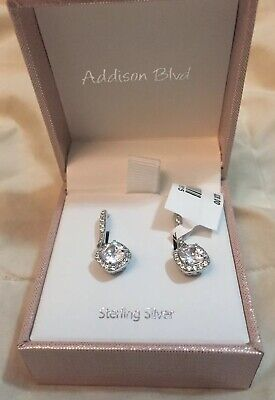 8f6bb7038 Addison Blvd Sterling Silver Earrings Hoop Cubic Zirconia Pendant Silver  Hook CZ