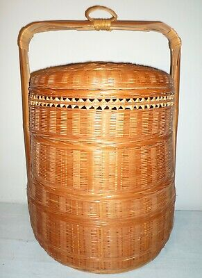 "1960's Vintage Authentic Traditional Bamboo Asian WEDDING BASKET 18""x14"" Vietnam"
