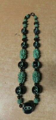 Antique Vintage Hand Carved Celluloid Bead Necklace Green & Black Nice