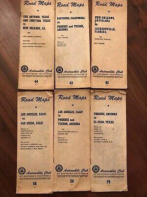 1920's Lot Of Six, AAA Automobile Club of Southern California Maps Road Maps