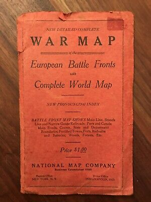 1920's National Map Company Detailed WWl European Battle Fronts With World Map