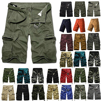 Mens Cargo Shorts Military Army Combat Pants Summer Work Pockets Casual Trousers