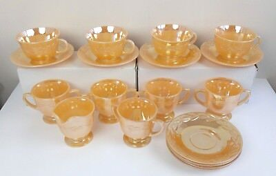 Fire King Peach Luster Laurel Leaf Coffee Cup Tea Cream Saucers - 18 Pieces Set