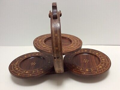 PRETTY EDWARDIAN INLAID MAHOGANY FOLDING TABLE CAKE STAND _ priced to sell!