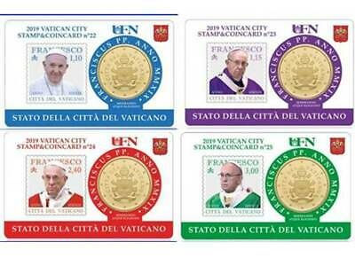 #RM# 4x COINCARD 50 CENT VATICAN 2019 with Stamp