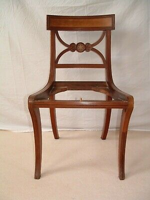 Regency. early chair of Trafalgar type brass inlaid in the manner of  Thos. Hope