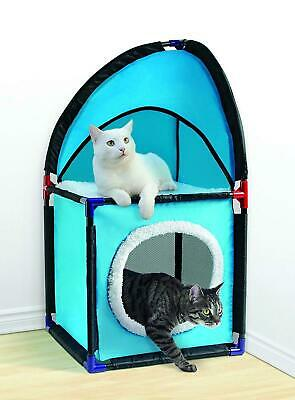 2 Tier Cat House indoor Pet play hut Cat Bed fleece material Scratch pad Station