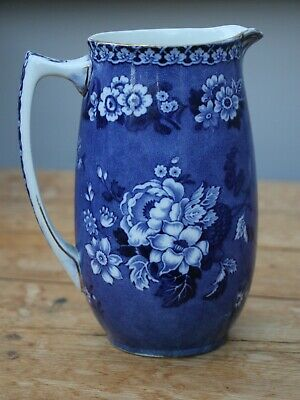 Vintage F WINKLE & Co. Whieldon Ware Blue Italy Floral Jug/Pitcher