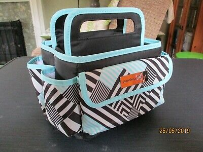 Everything Mary Desktop Small Tote - Barely Used - Teal, Black , White Pattern