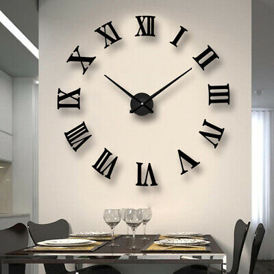 3D Large DIY Number Mirror Wall Clock Sticker Decor for Home Office Kids Room UK