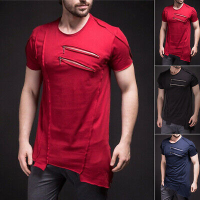 Mens Summer Crew Neck Short-sleeved T-shirt Solid Slim Fold Hip Hop Zipper Tops