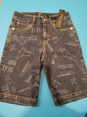 7175227a $305 YOUNG VERSACE Luxury BOY 6 YR Designer khaki shorts tan pant ...