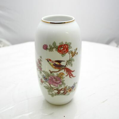 Hollóháza Flower Bird Vase Vintage Porcelain Hungary Gold Trim Floral
