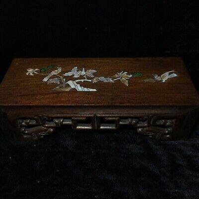 """12"""" Chinese antique huanghuali wood handcarved Mosaic shells base statue"""