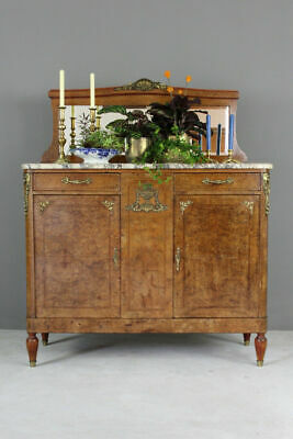 Antique French Burr Walnut & Marble Mirror Back Sideboard Dresser Cabinet