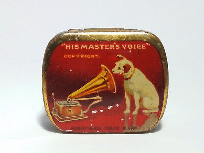 Vintage His Masters Voice red Gramophone Needle Tin nadeldose