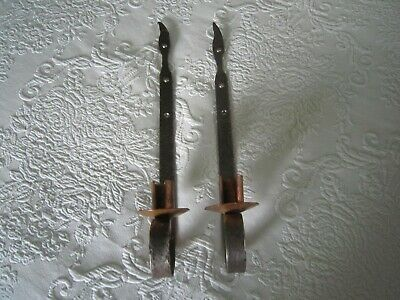 """Rustic Pair Hand Forged Wrought Iron & Copper 15"""" WALL SCONCES   OOAK"""