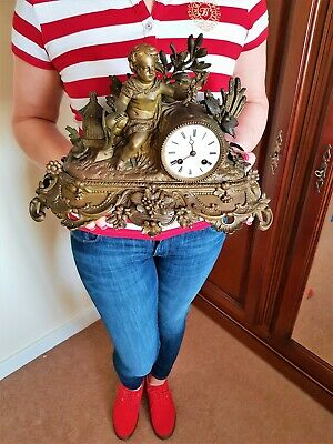 Antique French Bronzed Metal Figural Mantel Clock.
