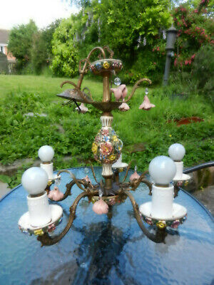 Vintage Italian Capodimonte Style Brass And Ceramic 5 Branch Chandelier Ceiling