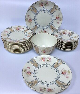 Antique Bridgwood Porcelain Tea Wares Plates Saucers Cake Plates Slop Bowl RARE