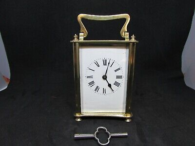 Antique / Vintage 5 Glass & Brass Carriage Mantel  Clock With Travel Case
