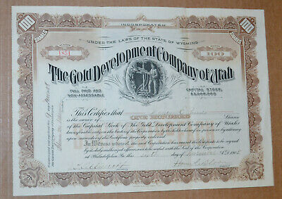 The Gold Development Company of Utah antique stock certificate 1908