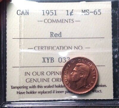 "*Ms65 ""Tough"" 1951 1 Cent Iccs Graded Ms65 - Last Example!"