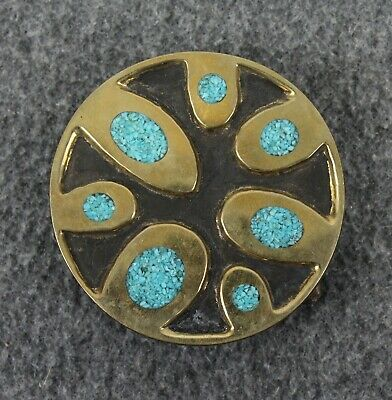 Vintage Abstract Native Tribal Design Turquoises Inlay Round Belt Buckle