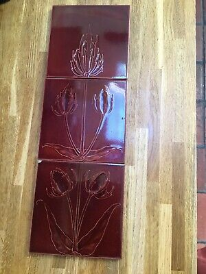 Stunning Set Of 3 Arts and Crafts Burgundy Pilkington Tiles CFA Voysey