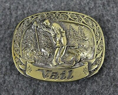 Vintage 80's 1981 Vail Colorado Skier Great American Belt Buckle Made In USA