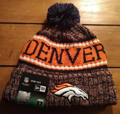 55a8ce38b3c509 New Era Denver Broncos 2018 Sideline On Field Pom Knit Cuffed NFL Beanie  Hat Cap
