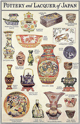 Vtg 1920's litho art print Pottery Lacquer ware of JAPAN history poster color
