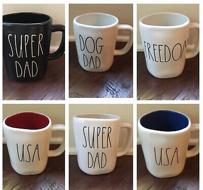 Rae Dunn Super Dad, Dog Dad, USA, Freedom Mugs Father's Day - NEW!