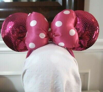 EUC Authentic Disney Parks ~ Minnie Mouse Pink Sequin Ears with Bow (E2)