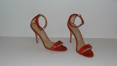 6b195aedfb941 $765 Manolo Blahnik Chaos 105 Leather And Suede Red Strapy Sandals Heels  Size 39