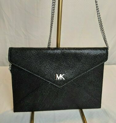 c4fc0ecab569 NEW Michael Kors Barbara BLACK Textured Medium Soft Envelope Clutch NWT $168
