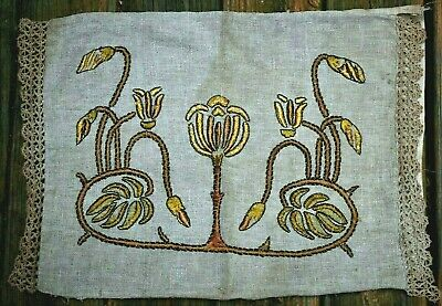 Antique 20's ARTS&CRAFTS Mission Pillow Case Embroidered Linen Crochet End Caps