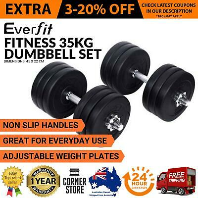 35KG Dumbbell Set Weight Dumbbells Plates Adjustabe Home Gym Fitness Exercise