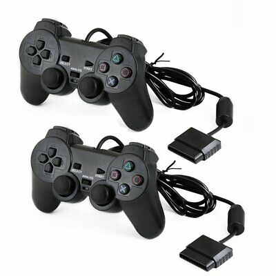2x Dual Shock Joypad Wired Controller Gamepad For PS2 PlayStation 2