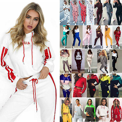 Womens 2PCS Tracksuits Set Hoodies Sweatshirt Pants Sport Casual Loungewear Suit