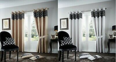 Luxury Shiny curtain Faux Silk Fully Lined Eyelet Ring Top Pair of Curtains