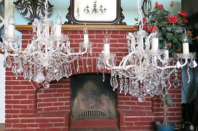 A Pair of GORGEOUS ~ ~ ANTQ/VINT Style French 6 Light Crystal Chandeliers