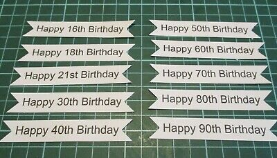 10 Printed Happy Mixed Number Birthday Banner Die Cuts........cardmaking