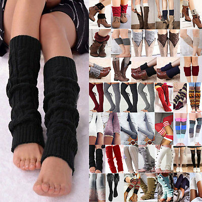 Ladies Girl Crochet Knitted Stocking Leg Warmers Boot Cuff Toppers Legging Socks