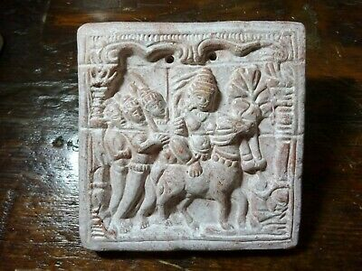 An Early to mid 20th C Asian Terracotta Relief Tile